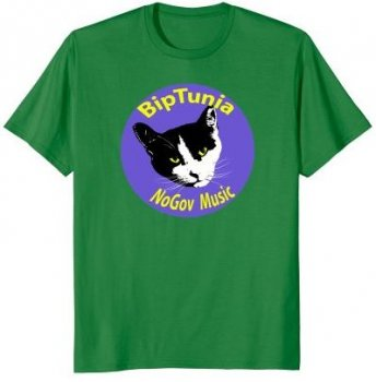 get the BipTunia shirt with cat face logo on Amazon