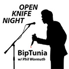 open knife night - silhouette of man on stage speaking into microphone and holding a knife with a drop of blood on the kinfe - album play button