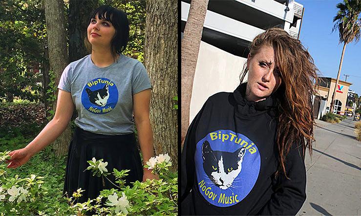 two women model BipTunia Shirts