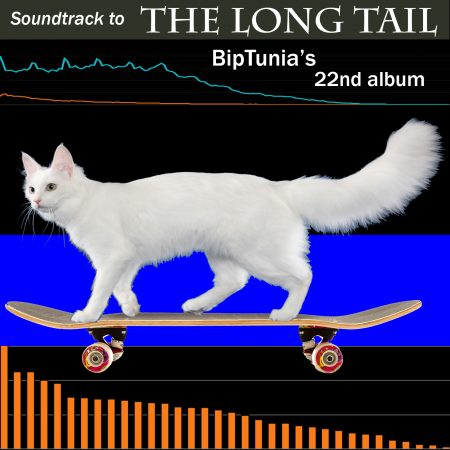 "Long Tail BipTunia album cover. cat with long tail riding skateboard, with ""Long tail"" economics maps behind her"